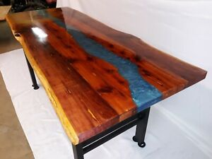 Image Is Loading Live Edge Dining Table Epoxy Red Cedar 5