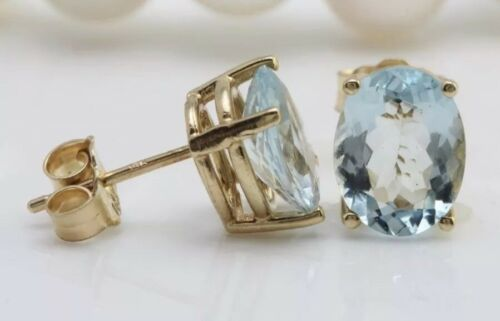 3.10 Carat Natural Aquamarine in 14K Solid Yellow Gold Stud Earrings