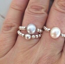 GREY FRESHWATER PEARL RING STERLING SILVER STRETCH STACKING RING DESIGNER GIFT