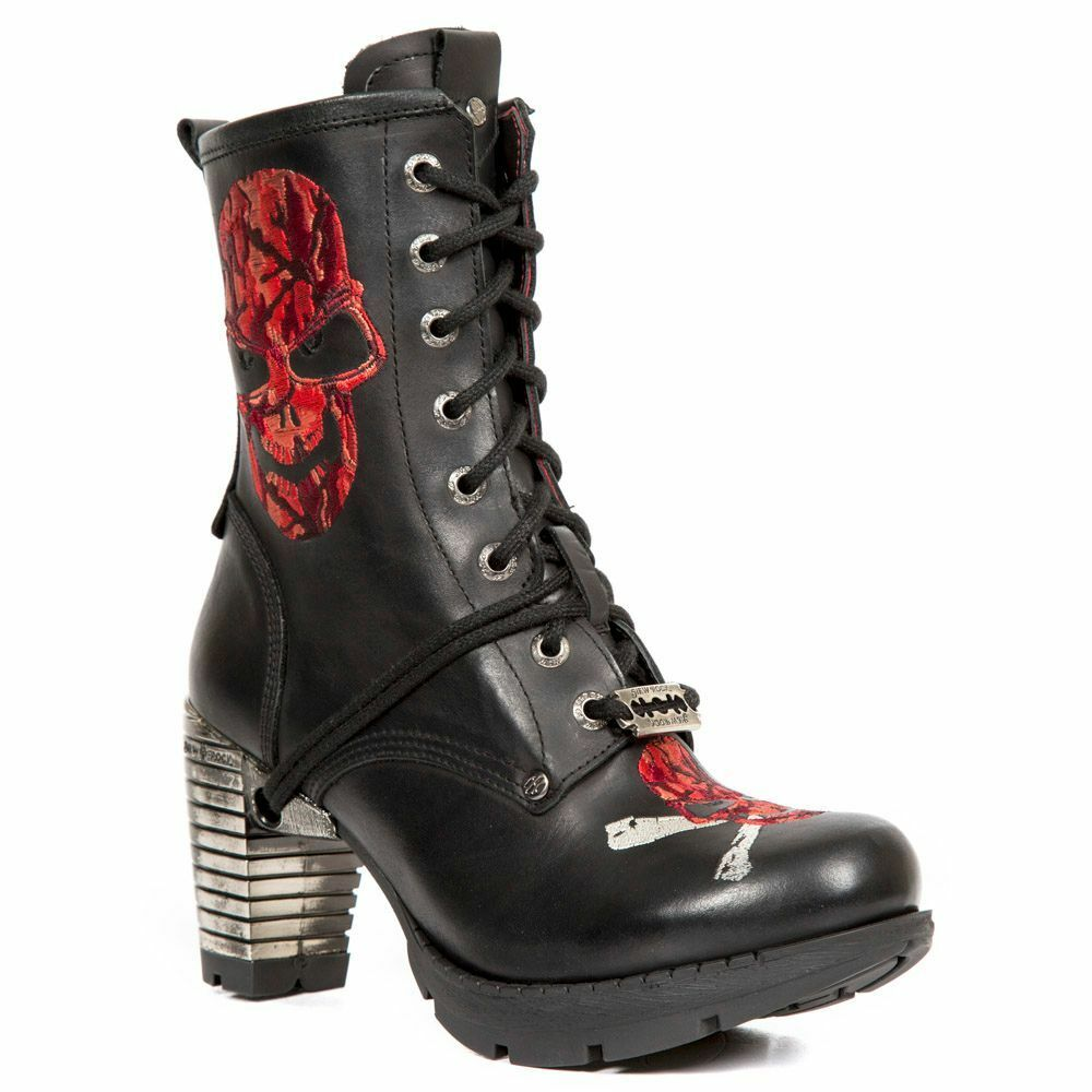 Grandes zapatos con descuento Newrock New Rock Ladies Tr079 S2 Black Red Leather Punk Ankle Boots Block Heel