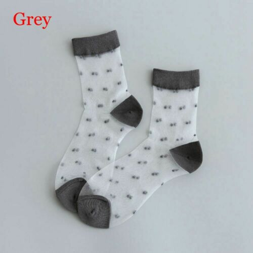 Fashion Vintage Ultra-thin Hosiery Crystal Silk Transparent Dots Socks Mesh