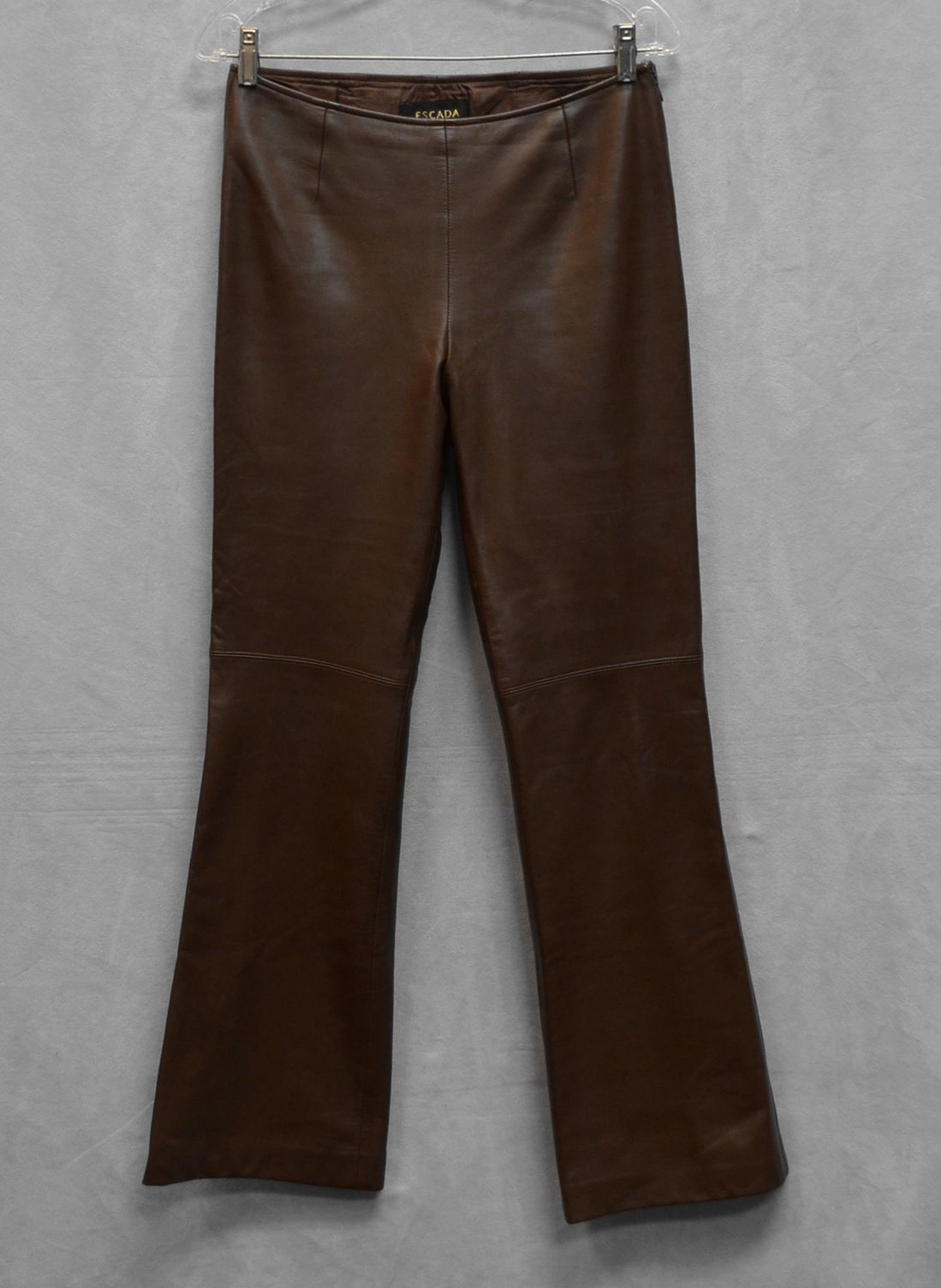 C0 Auth ESCADA Brown Soft Leather Side Zipper Flare Pants Size