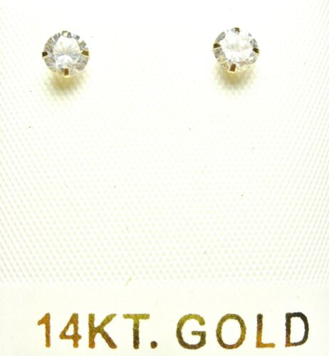 14kt Pure Solid Yellow Gold 4MM Cubic Zirconia Earrings W//4MM Butterfly backs!