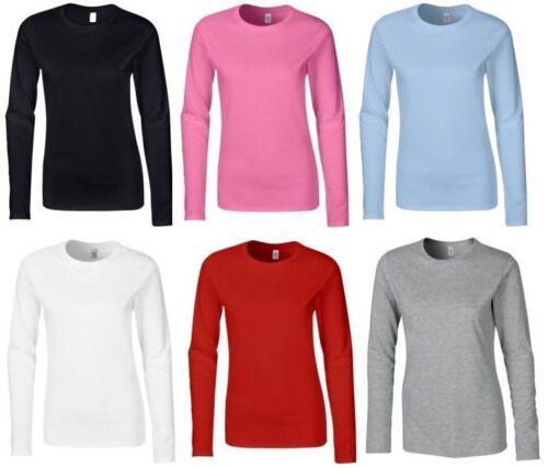 New womens long sleeve round neck plain basic ladies stretch T-shirt top 8-14^RN