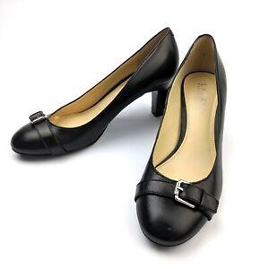 Lauren-Ralph-Lauren-Saffron-Black-Leather-Buckle-Pumps-Mid-Heel-Size-7B