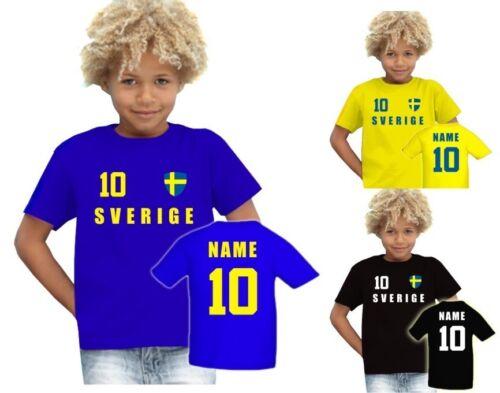 Svezia SVERIGE T-SHIRT MAGLIA look calcio Jersey bambini nome /& nr em 2016