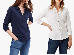 White-Stuff-Cotton-Long-Sleeves-White-Navy-Blouse-Polo-T-Shirt-Top-8-12-16-18
