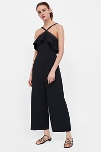 0bebf75a Black ZARA Jumpsuit With Lace Straps Size M New With Tags Christmas ...