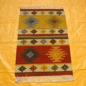 Hand-Woven-Wool-Rug-Turkish-Kilim-Dhurrie-Persian-Oriental-Area-Rug-2-039-X3-039-ft