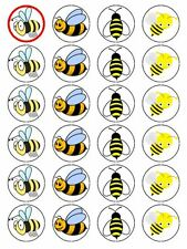 X24 HONEY BEE / BUMBLE BEE CUP CAKE TOPPERS DECORATIONS ON EDIBLE RICE PAPER