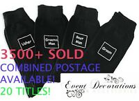 BLACK WEDDING PARTY SOCKS - 18 DIFFERENT TITLES - GREAT GIFT!
