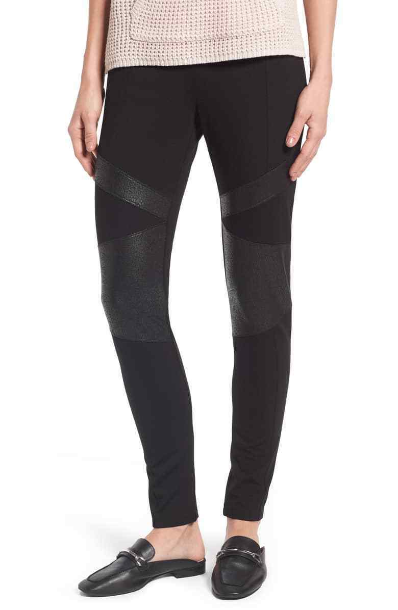 Two by Vince Camuto Lacquer Inset Moto Leggings Size Large