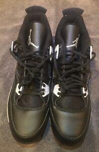 b2f2385f24f632 Nike Air Jordan 4 IV Metal Baseball Cleats Oreo Black (807710-010 ...