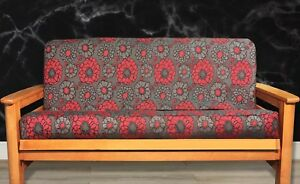 Image Is Loading New Red Amp Grey Flower Futon Cover Full