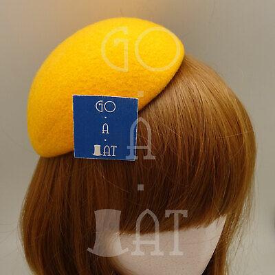 Wool Felt Women Fascinator Mini Beret Pillbox DIY Base14cmNavy Blue Yellow