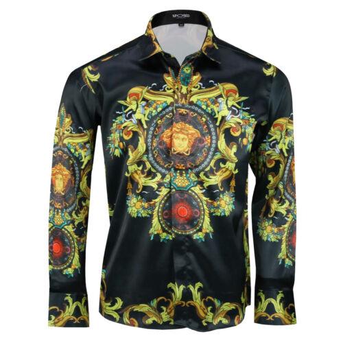 Mens Italian Designer Style Black Gold Baroque Print Silky Feel Satin Shirt