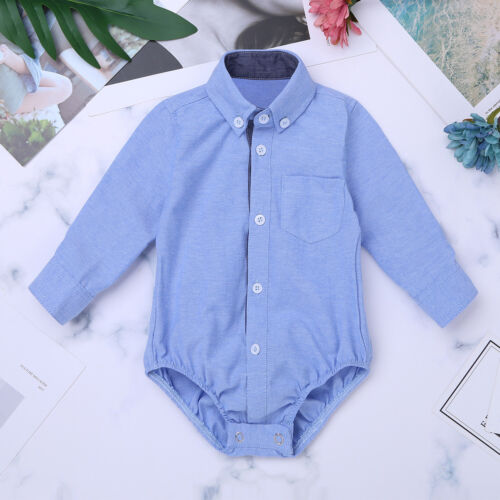 Baby Boys Plaid Short Long Sleeve Button-up Bodysuit Formal Dress Shirt Romper