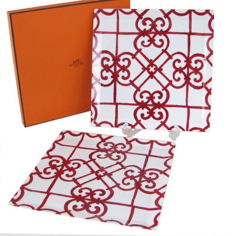 PLATO De Porcelana Hermes Guadalquivir Rojo Placa 2 Set Vajilla Ornamento Interior