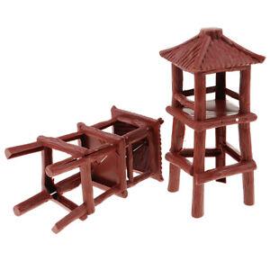2Pcs/Set   Watch Tower 18.5cm Model Plastic Toy Soldier Army Men Accs