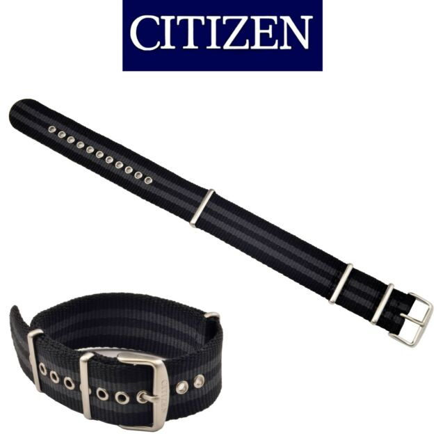 Genuine Citizen PRT Black/ Gray Fabric 21mm Band Strap for Watch AW7030-06E