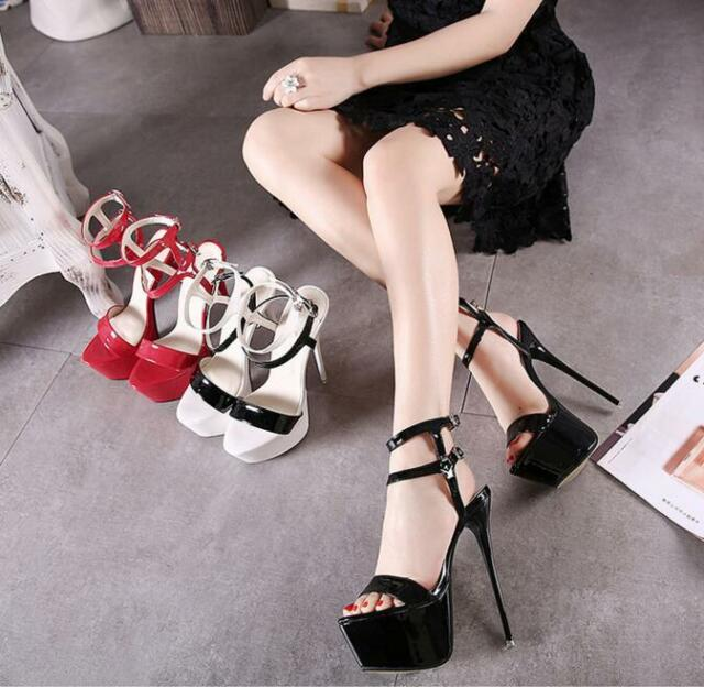 061d0b245d6ebf Womens Sexy Super High Heels Platform Stiletto Pumps Ankle Strap Sandals  Shoes S