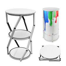 417 Spiral Tower Display Shelve 2 Layers Foldable White Frame For Exhibition