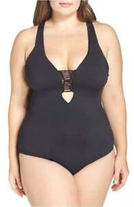 Becca-Etc-Electric-Current-One-Piece-Swimsuit-Black-Size-0X-14-16
