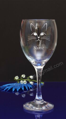 Personalised Cat engraved wine glass Birthday,Christmas gift present190