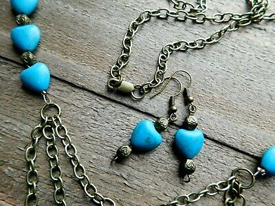 Turquoise Jewelry Turquoise Earrings Boho Jewelry Set: Necklace and Earrings Silver Boho Necklace