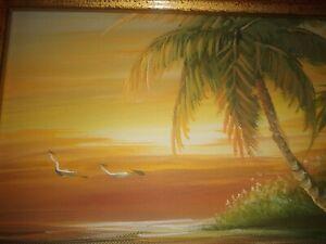 "Vintage H Gailey 3D Oil  Sunset, Beach, Palm, & Seagulls 10""x8"" Framed 13""x15"""