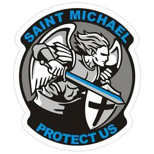 Saint-Michael-Thin-Blue-Line-Police-Sticker-Decal-199-Made-in-U-S-A
