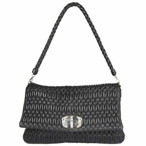 25369b37922b 54660 auth MIU MIU black MATELASSE leather Crystal Lock Shoulder Bag ...