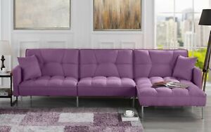 Strange Details About Modern Linen Casual Fabric Futon Sectional Sofa Pillows 110 6 W Inch Purple Pabps2019 Chair Design Images Pabps2019Com