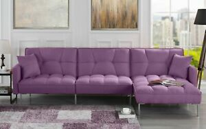 Miraculous Details About Modern Linen Casual Fabric Futon Sectional Sofa Pillows 110 6 W Inch Purple Cjindustries Chair Design For Home Cjindustriesco