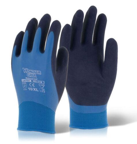 50 Pairs Of Wonder Grip WG318 AQUA Latex Grip Gloves Wet Work Waterproof 11//XXL