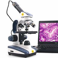 Swift Sw200dl 40x 1000x Compound Microscope Dual Light Student Lab With Usb Camera