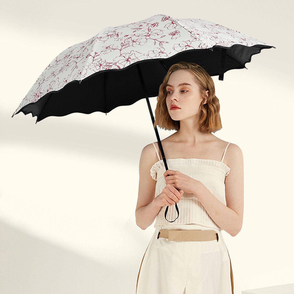 Windproof Anti-UV Sun Rain Umbrella Protection Hibiscus Flower 3 Folding Parasol