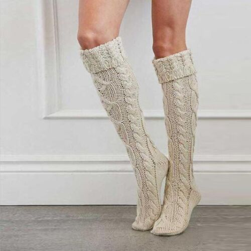 Women Girl Soft Over Knee Knit Thigh High Long Socks Winter Warm Casual Stocking