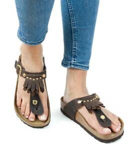 f2364eb2c70b Image is loading Birkenstock-Sandals-Gizeh-Kiltie-Fringe -brown-leather-regular-