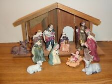 Holiday Time Nativity Set 12 Piece Porcelain Hand Painted Wood Manger