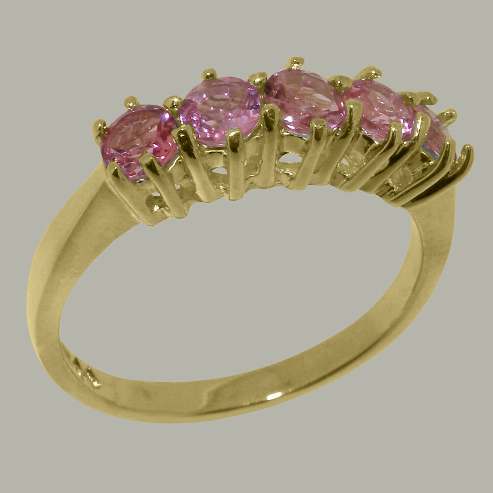 10k Yellow gold Natural Pink Tourmaline Womens Eternity Ring - Sizes 4 to 12