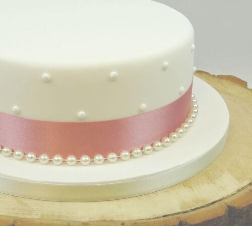 SATIN RIBBON 35mm /& PEARLS CAKE DECORATION BIRTHDAY WEDDING CAKE TOPPER TRIM