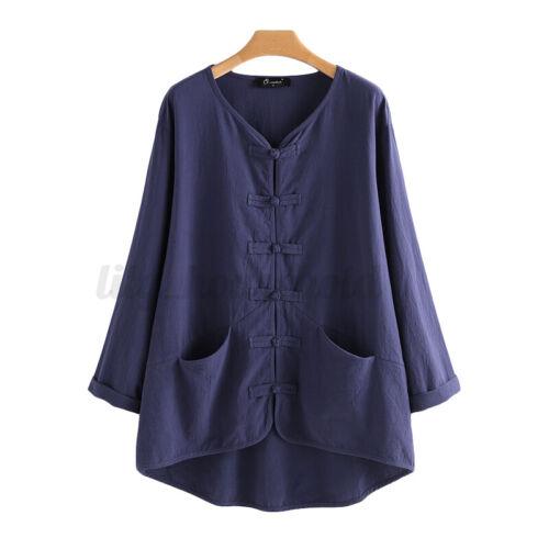 L-5XL Damen Langarm Bluse Top Vintage Retro Ethnic Lose V Neck Linen Hemd Shirt