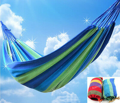 Portable Cotton Rope Outdoor Swing Fabric Camping Hammock Canvas Bed with Bag