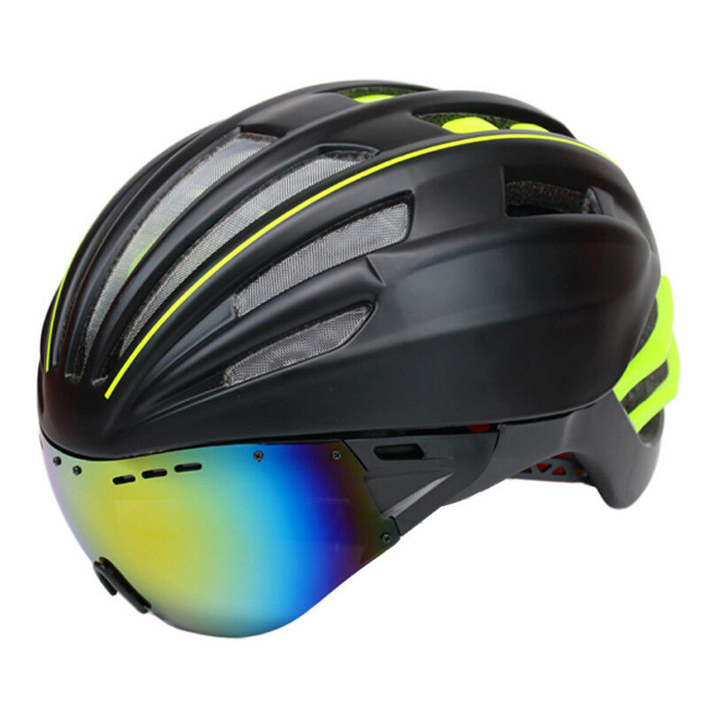 Bike Helmet With Glasses Bicycle Cycling Safety Mount Rear W Front Casco Double
