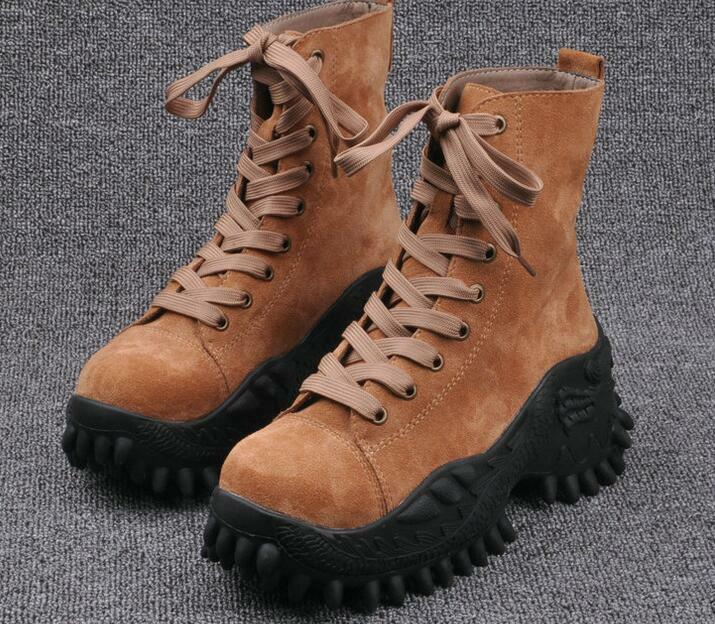 Womens Lace Up Leather Non-slip Climbing Hiking Sneakers Boots Punk motor Shoes