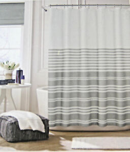 Image Is Loading Tommy Hilfiger Canyon Stripe Shower Curtain Gray Amp