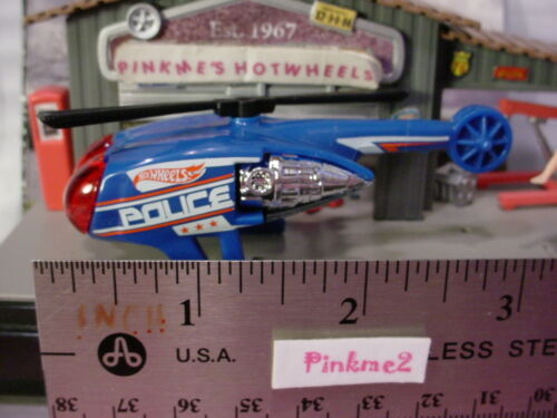 2015 POLICE PURSUIT Design Ex KILLER COPTER☆Blue//Red Helicopter☆LOOSE☆Hot Wheels