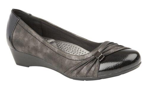 women low wedge court shoes black patent sash vamp comfort padded sock PU sole