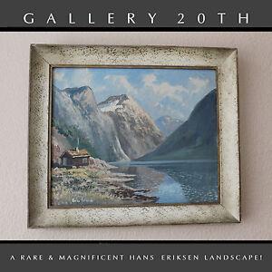 RARE-20TH-CENTURY-DANISH-HANS-ERIKSEN-ORIG-LANDSCAPE-OIL-PAINTING-Art-Vtg-30-039-s